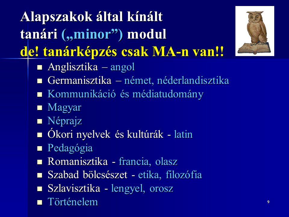 """9 Alapszakok által kínált tanári (""""minor"""") modul de! tanárképzés csak MA-n van!! Anglisztika – angol Anglisztika – angol Germanisztika – német, néderl"""