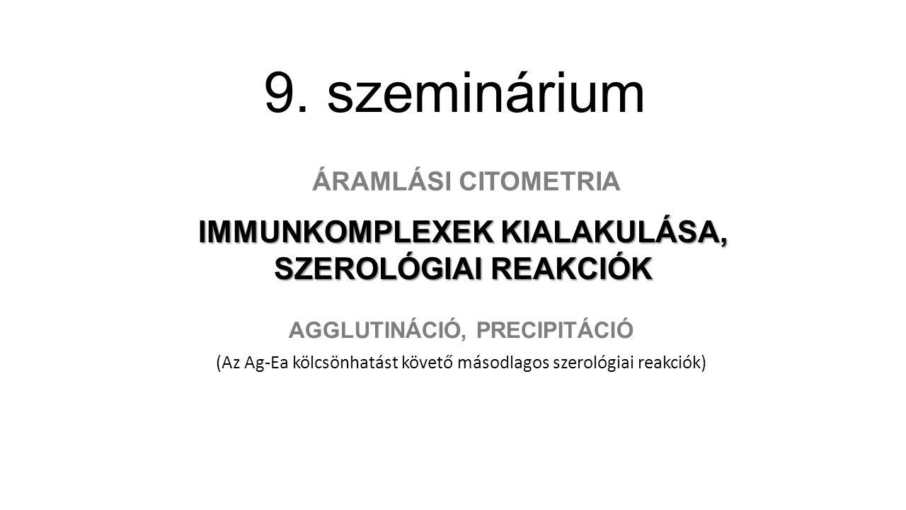 9. szeminárium AGGLUTINÁCIÓ, PRECIPITÁCIÓ (Az Ag-Ea kölcsönhatást követő másodlagos szerológiai reakciók) IMMUNKOMPLEXEK KIALAKULÁSA, SZEROLÓGIAI REAK