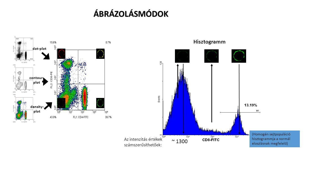 dot-plot contour- plot density- plot ÁBRÁZOLÁSMÓDOK Hisztogramm (Homogén sejtpopuláció hisztogrammja a normál eloszlásnak megfelelő) Az intenzitás ért