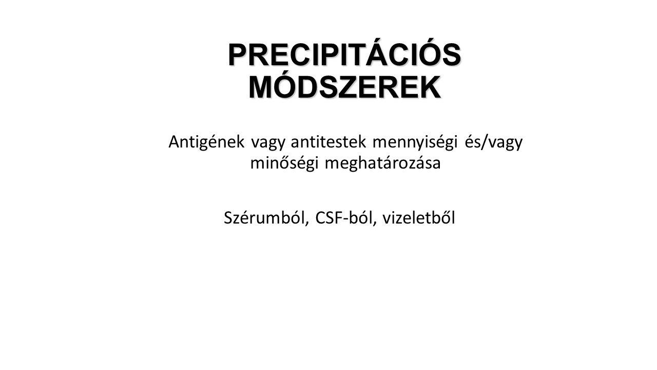 Antigének vagy antitestek mennyiségi és/vagy minőségi meghatározása Szérumból, CSF-ból, vizeletből PRECIPITÁCIÓS MÓDSZEREK