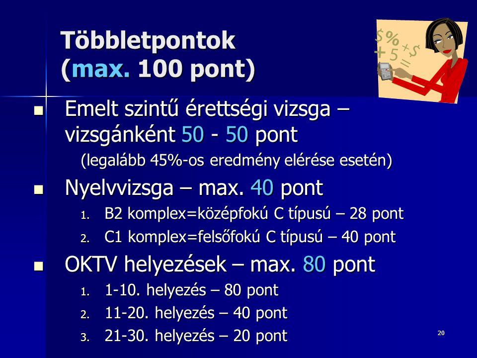 20 Többletpontok (max.