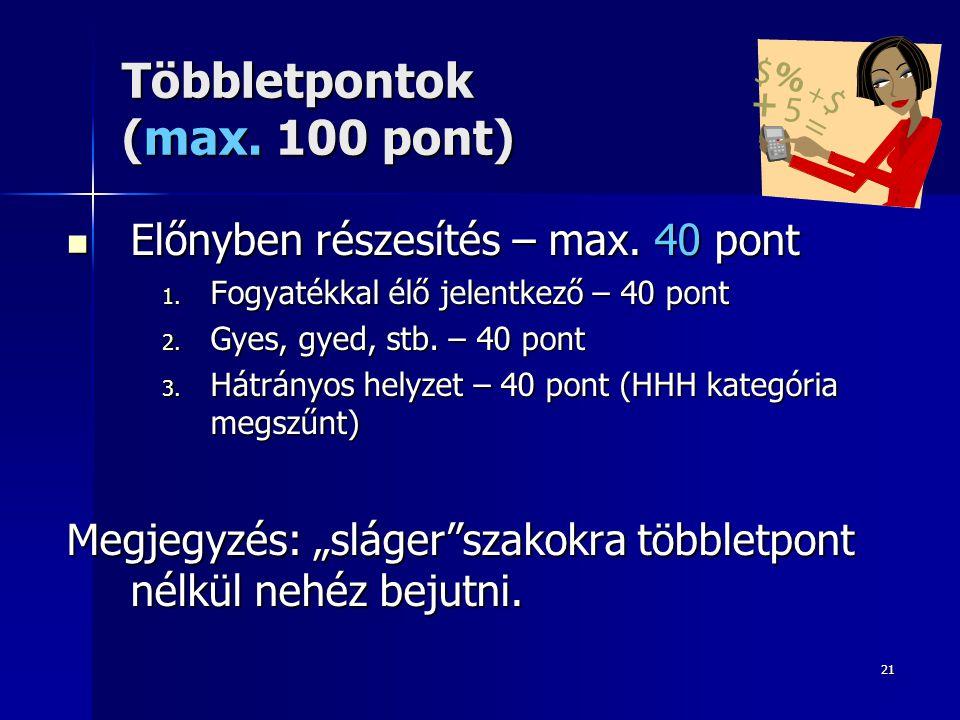 21 Többletpontok (max. 100 pont) Előnyben részesítés – max.