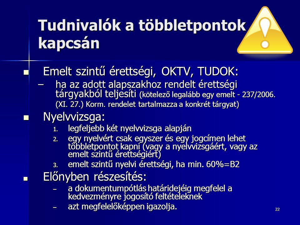 22 Tudnivalók a többletpontok kapcsán Emelt szintű érettségi, OKTV, TUDOK: Emelt szintű érettségi, OKTV, TUDOK: –ha az adott alapszakhoz rendelt érettségi tárgyakból teljesíti (kötelező legalább egy emelt - 237/2006.