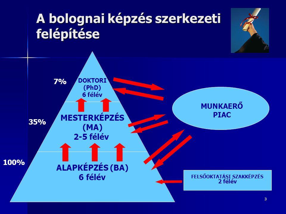 3 A bolognai képzés szerkezeti felépítése DOKTORI (PhD) 6 félév MESTERKÉPZÉS (MA) 2-5 félév ALAPKÉPZÉS (BA) 6 félév MUNKAERŐ PIAC FELSŐOKTATÁSI SZAKKÉPZÉS 2 félév 7% 35% 100%