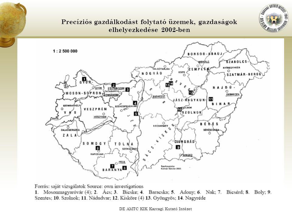 DE AMTC KIK Karcagi Kutató Intézet Precíziós gazdálkodást folytató üzemek, gazdaságok elhelyezkedése 2002-ben
