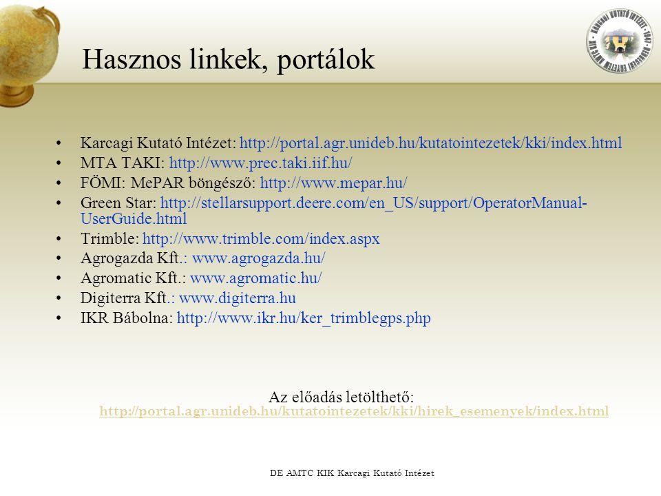 DE AMTC KIK Karcagi Kutató Intézet Hasznos linkek, portálok Karcagi Kutató Intézet: http://portal.agr.unideb.hu/kutatointezetek/kki/index.html MTA TAK