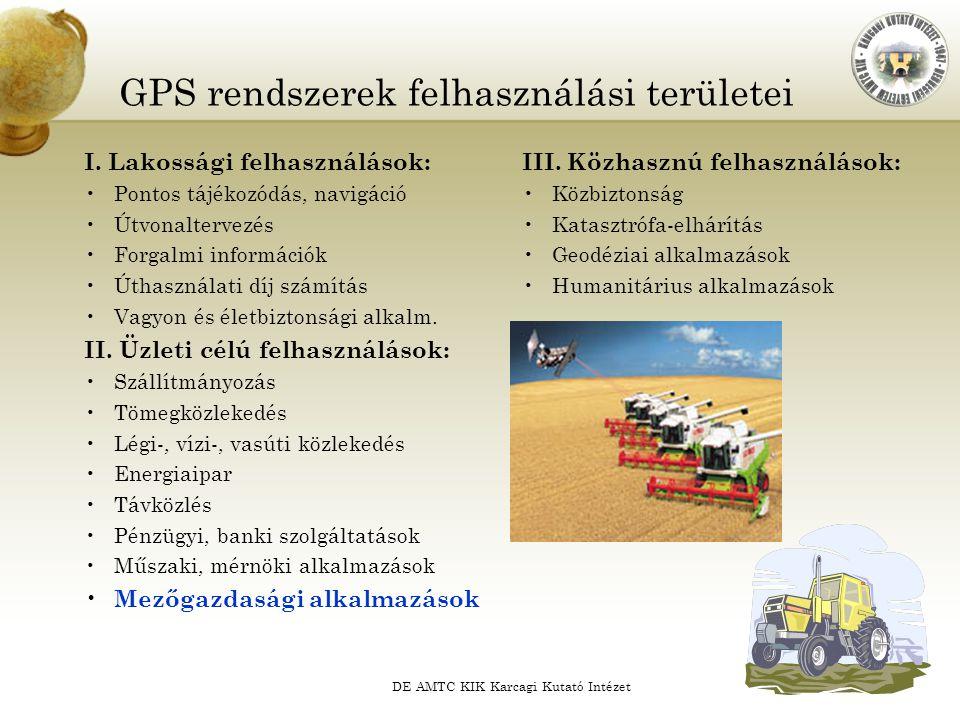 DE AMTC KIK Karcagi Kutató Intézet GPS rendszerek felhasználási területei I. Lakossági felhasználások: Pontos tájékozódás, navigáció Útvonaltervezés F