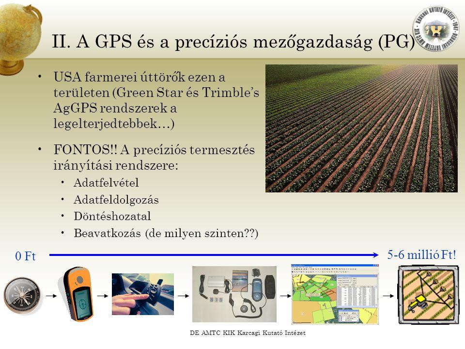 DE AMTC KIK Karcagi Kutató Intézet USA farmerei úttörők ezen a területen (Green Star és Trimble's AgGPS rendszerek a legelterjedtebbek…) FONTOS!! A pr