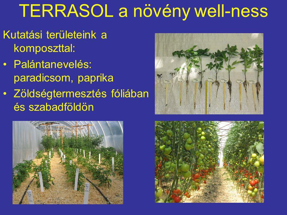 TERRASOL a növény well-ness Kutatási területeink a komposzttal: Palántanevelés: paradicsom, paprika Zöldségtermesztés fóliában és szabadföldön