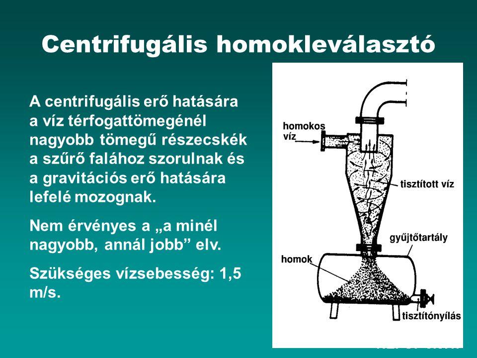 HEFOP 3.3.1. Centrifugális homokleválasztó A centrifugális erő hatására a víz térfogattömegénél nagyobb tömegű részecskék a szűrő falához szorulnak és