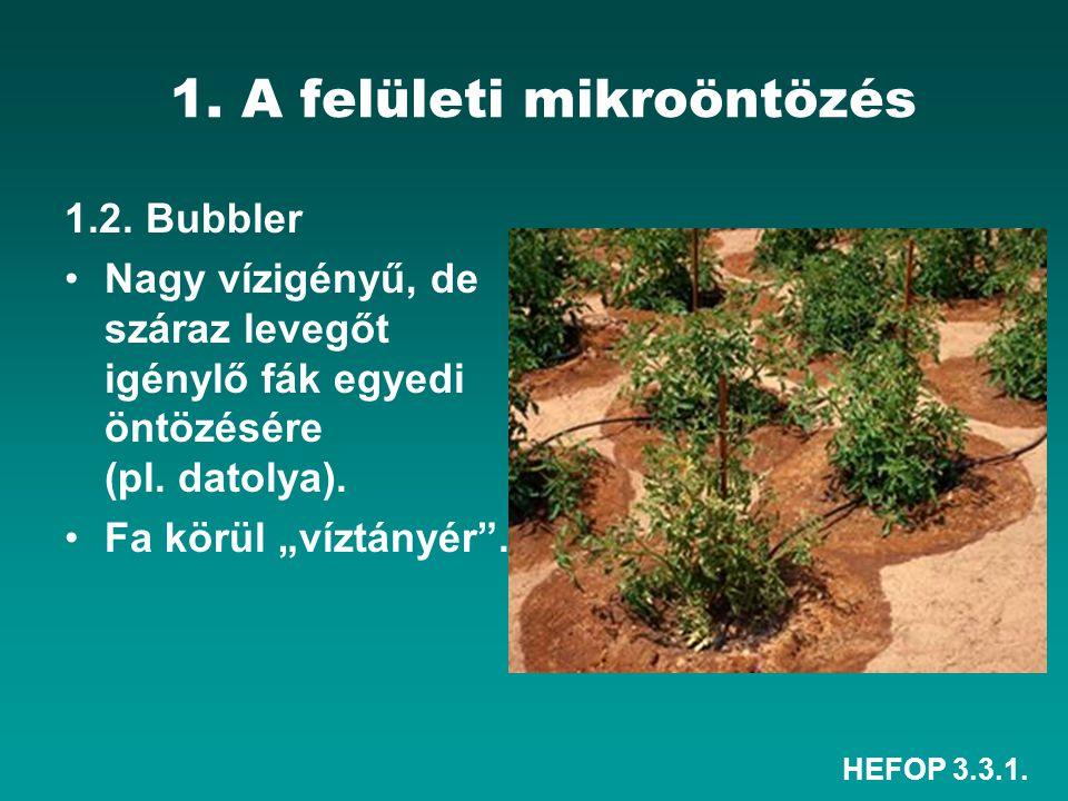 """HEFOP 3.3.1. 1. A felületi mikroöntözés 1.2. Bubbler Nagy vízigényű, de száraz levegőt igénylő fák egyedi öntözésére (pl. datolya). Fa körül """"víztányé"""