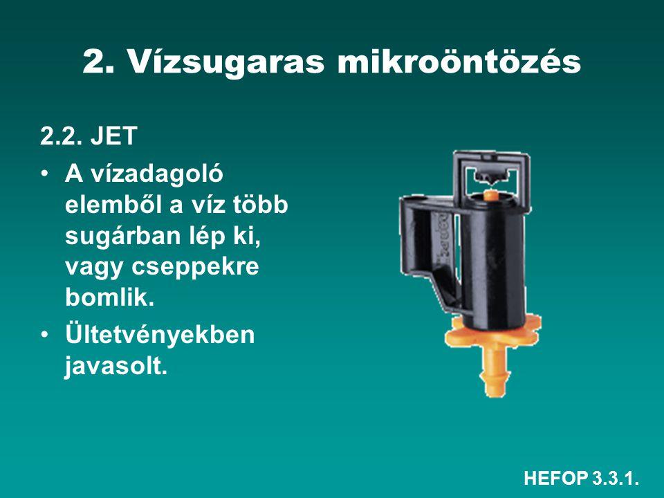 HEFOP 3.3.1. 2. Vízsugaras mikroöntözés 2.2. JET A vízadagoló elemből a víz több sugárban lép ki, vagy cseppekre bomlik. Ültetvényekben javasolt.