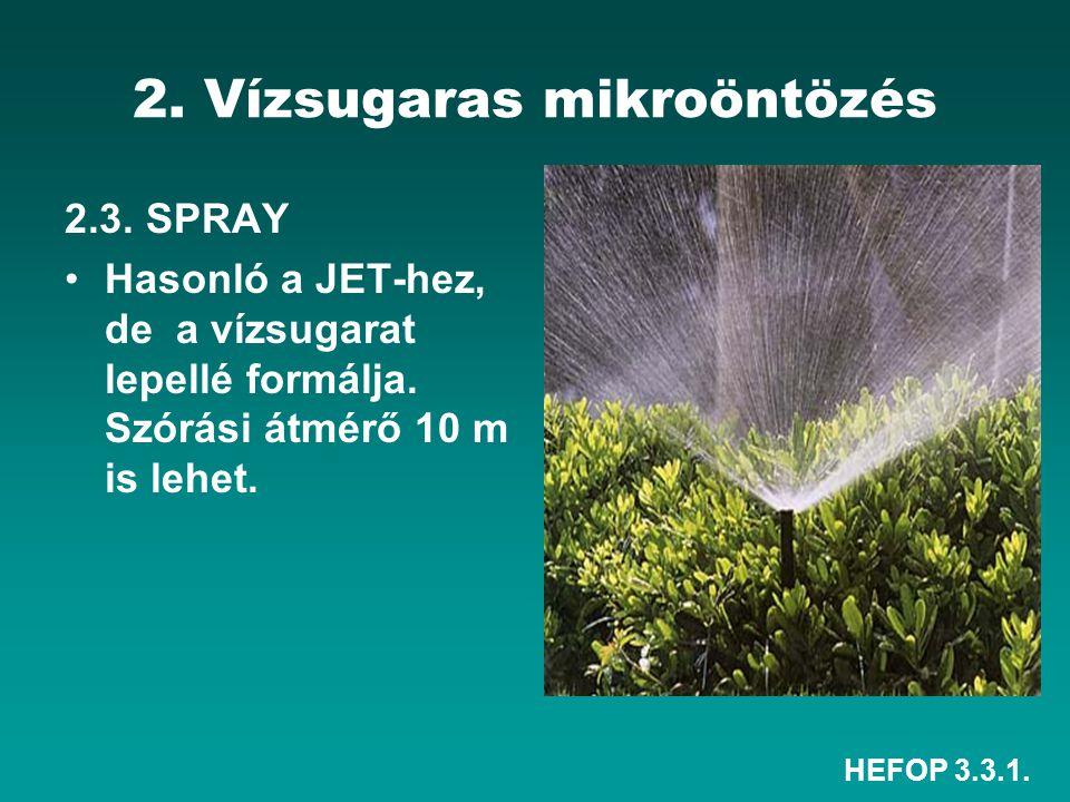 HEFOP 3.3.1. 2. Vízsugaras mikroöntözés 2.3. SPRAY Hasonló a JET-hez, de a vízsugarat lepellé formálja. Szórási átmérő 10 m is lehet.