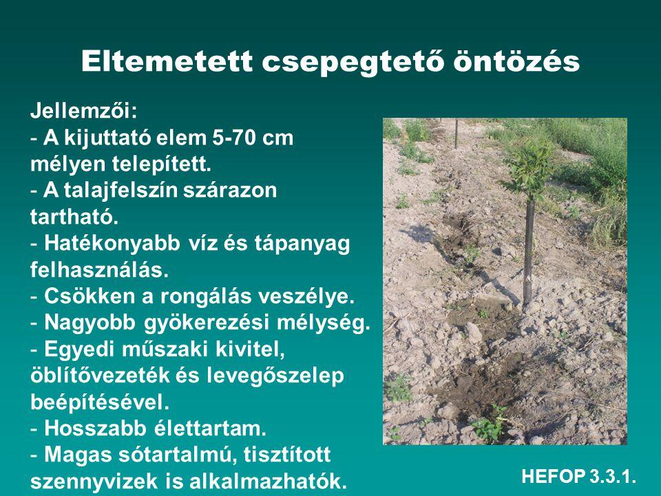 HEFOP 3.3.1. Eltemetett csepegtető öntözés Jellemzői: - A kijuttató elem 5-70 cm mélyen telepített. - A talajfelszín szárazon tartható. - Hatékonyabb