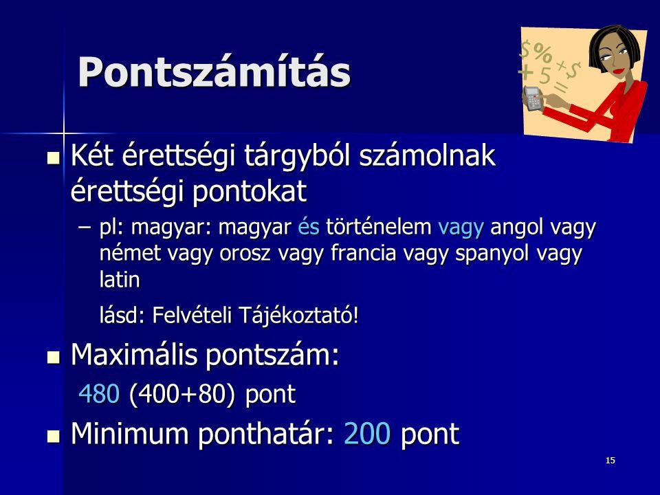 15 Pontszámítás Két érettségi tárgyból számolnak érettségi pontokat Két érettségi tárgyból számolnak érettségi pontokat –pl: magyar: magyar és történe