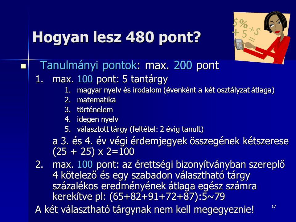 17 Hogyan lesz 480 pont. Tanulmányi pontok: max. 200 pont Tanulmányi pontok: max.