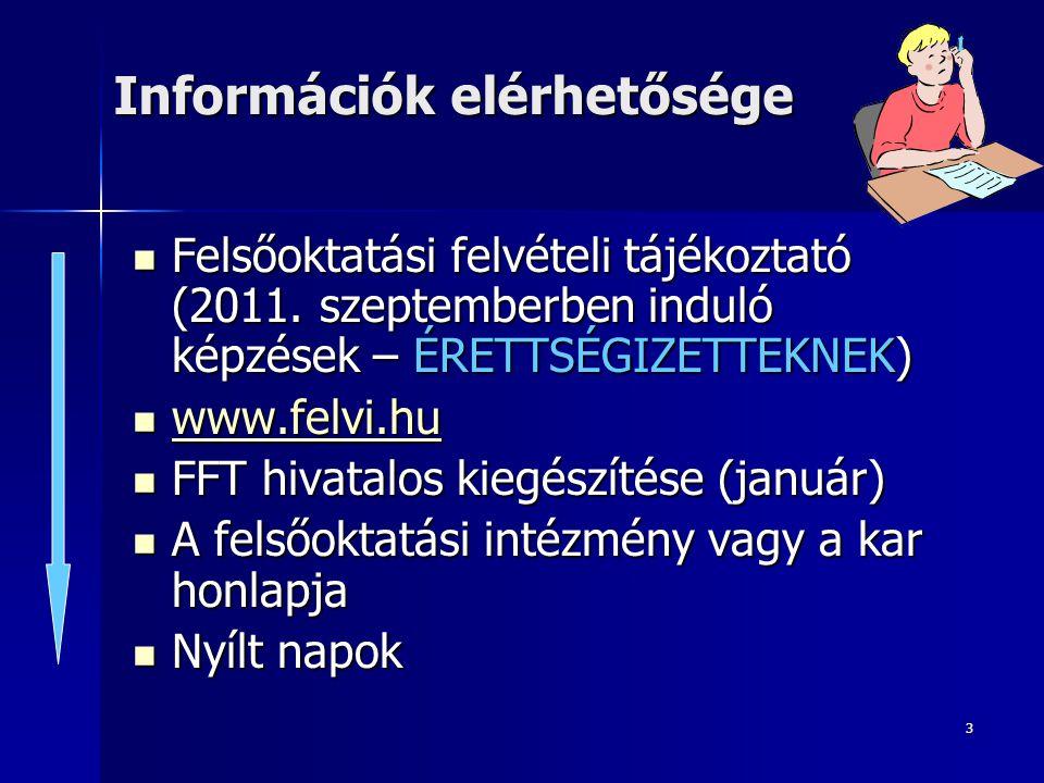 3 Információk elérhetősége Felsőoktatási felvételi tájékoztató (2011. szeptemberben induló képzések – ÉRETTSÉGIZETTEKNEK) Felsőoktatási felvételi tájé