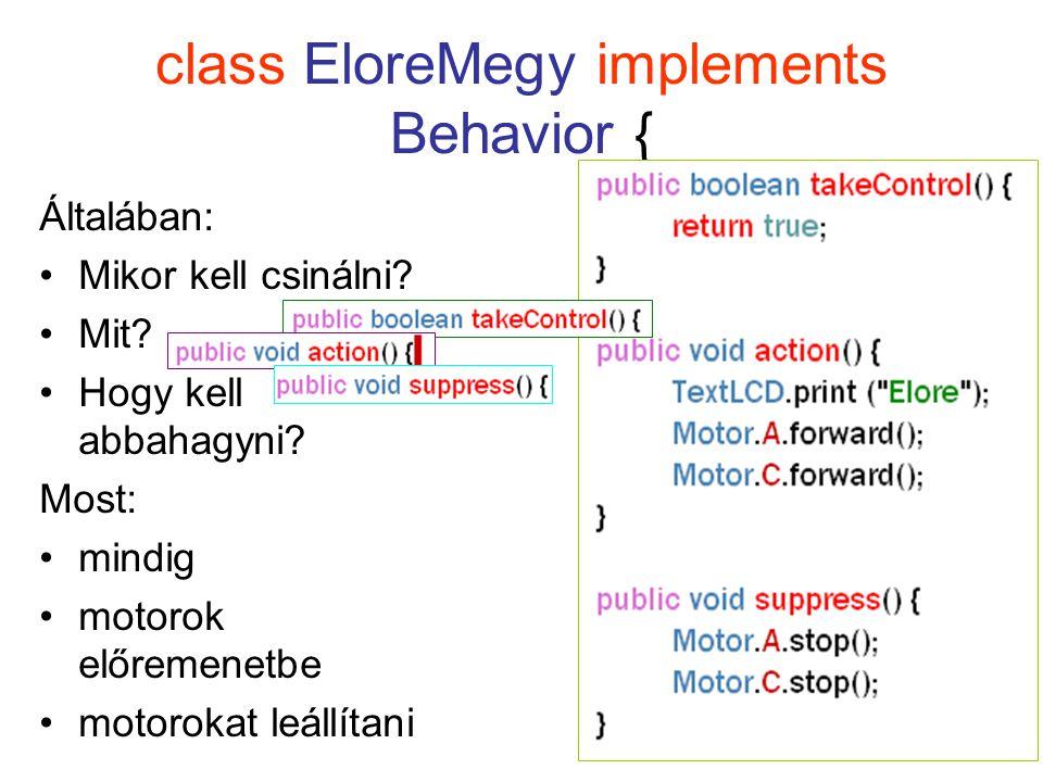 class EloreMegy implements Behavior { Általában: Mikor kell csinálni.