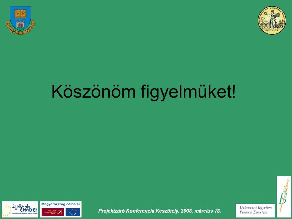 Projektzáró Konferencia Keszthely, 2008. március 18. Köszönöm figyelmüket!