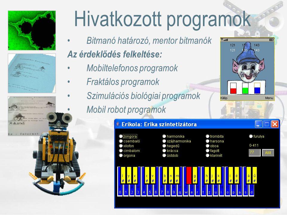 Hivatkozott programok Bitmanó határozó, mentor bitmanók Az érdeklődés felkeltése: Mobiltelefonos programok Fraktálos programok Szimulációs biológiai programok Mobil robot programok