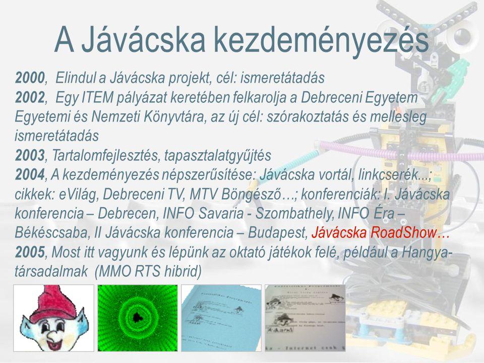Kérdések és válaszok http://www.clib.dote.hu:8081/javacska/b.vhttp://www.javacska.hu 25 órás Internet Fiesta az Újkerti Könyvtárban Debrecen, 2005 március 17., 14.00-16.30 Bátfai Erika, Bátfai Norbert, info@javacska.hu