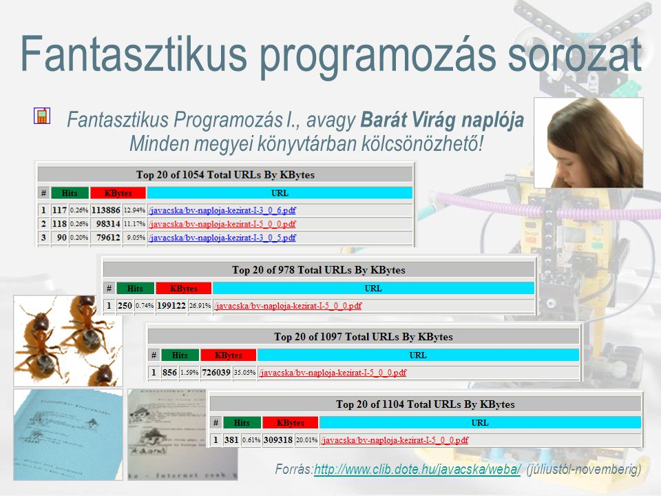 Irányok 2005-ben Könyvtár: Jávácska vándor foglalkozások, Jávácska RoadShow, http://www.javacska.hu/RoadShowhttp://www.javacska.hu/RoadShow Informatika: oktatási anyag tartalomtámogatás Játék: HANGYA TÁRSADALMAK (MMO RTS hibrid) Könyv: Fazekas Igor naplója (LEGO ® Mindstorms ™ robot építés) Pályázunk, partnereket keresünk.