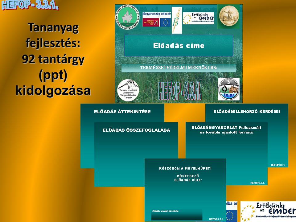 Tananyag fejlesztés: 92 tantárgy (ppt) kidolgozása