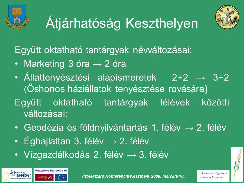 Projektzáró Konferencia Keszthely, 2008. március 18. Átjárhatóság Keszthelyen Együtt oktatható tantárgyak névváltozásai: Marketing 3 óra → 2 óra Állat
