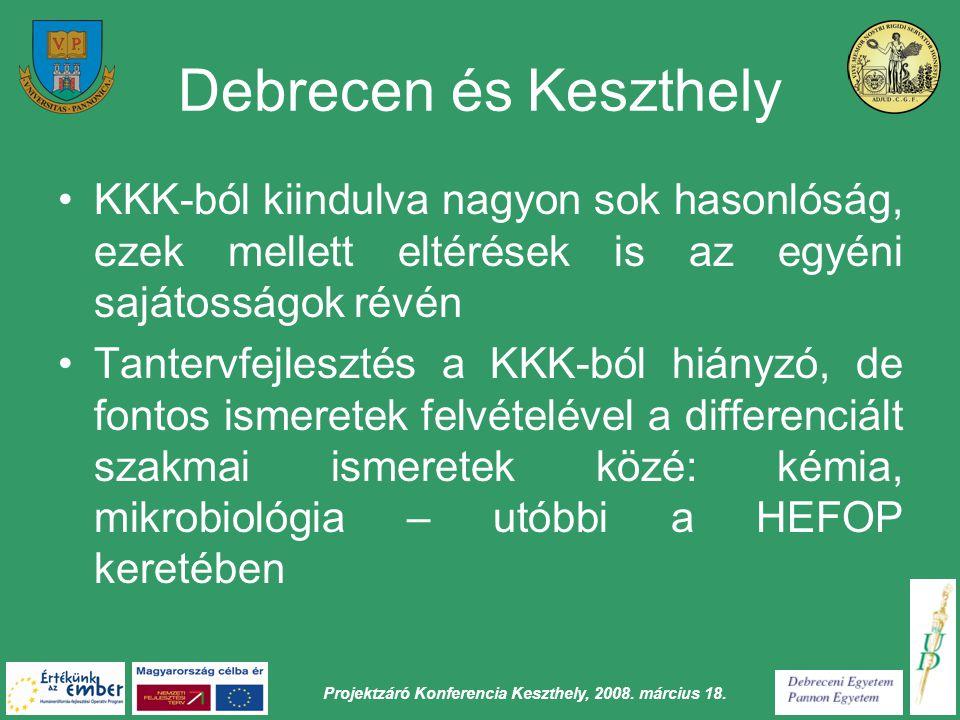 Projektzáró Konferencia Keszthely, 2008. március 18. Debrecen és Keszthely KKK-ból kiindulva nagyon sok hasonlóság, ezek mellett eltérések is az egyén
