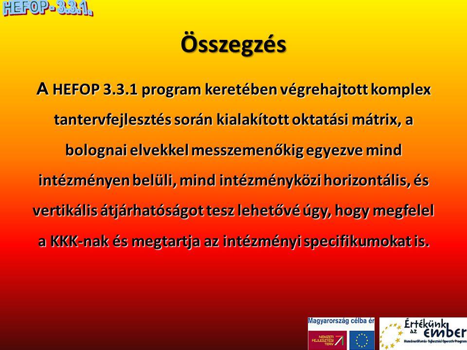 Összegzés A HEFOP 3.3.1 program keretében végrehajtott komplex tantervfejlesztés során kialakított oktatási mátrix, a bolognai elvekkel messzemenőkig