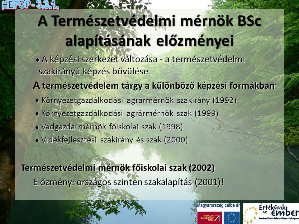 A Természetvédelmi mérnök BSc alapításának előzményei  A képzési szerkezet változása - a természetvédelmi szakirányú képzés bővülése  A képzési szer