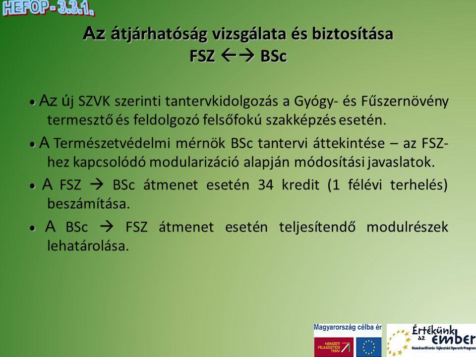 Az á tjárhatóság vizsgálata és biztosítása FSZ  BSc   Az ú j SZVK szerinti tantervkidolgozás a Gyógy- és Fűszernövény termesztő és feldolgozó fels
