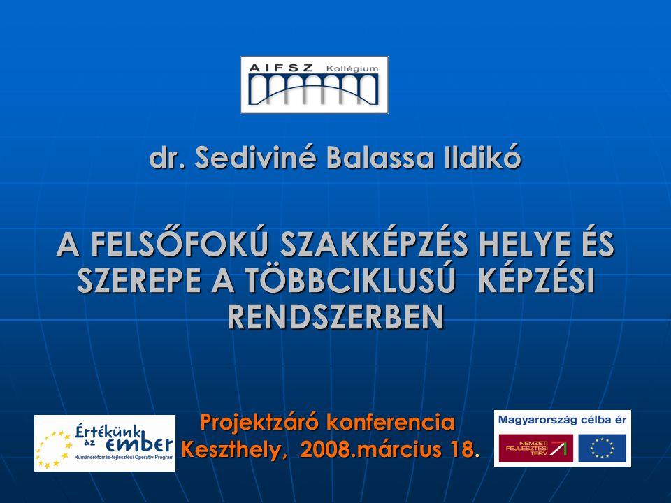 dr. Sediviné Balassa Ildikó A FELSŐFOKÚ SZAKKÉPZÉS HELYE ÉS SZEREPE A TÖBBCIKLUSÚ KÉPZÉSI RENDSZERBEN Projektzáró konferencia Keszthely, 2008.március