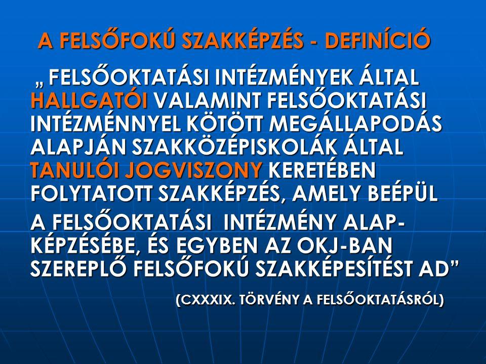 A FELSŐFOKÚ SZAKKÉPZÉS 10 ÉVE MÉRFÖLDKÖVEK A PHARE PROGRAM – 1997/1998 AZ ÚJ OKJ - 2008 BUDAPEST, 2007.