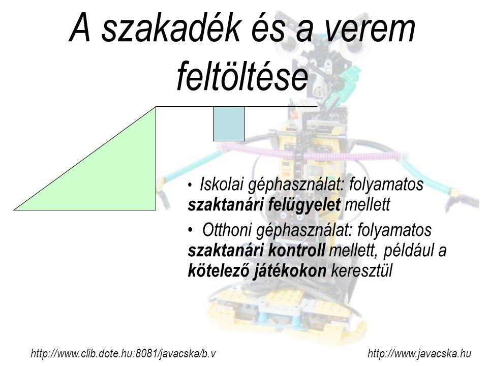 A szakadék és a verem feltöltése http://www.clib.dote.hu:8081/javacska/b.v http://www.javacska.hu Iskolai géphasználat: folyamatos szaktanári felügyelet mellett Otthoni géphasználat: folyamatos szaktanári kontroll mellett, például a kötelező játékokon keresztül