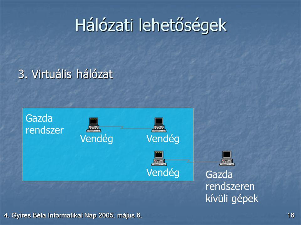 4. Gyires Béla Informatikai Nap 2005. május 6.16 Hálózati lehetőségek 3.