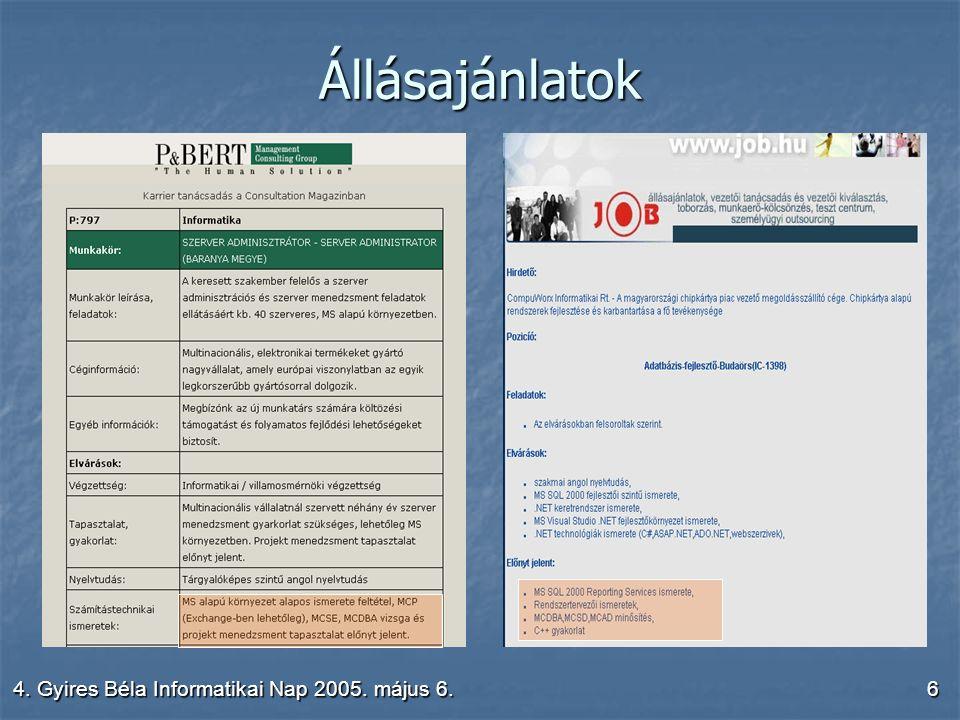 4. Gyires Béla Informatikai Nap 2005. május 6.6 Állásajánlatok