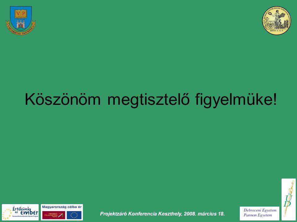 Projektzáró Konferencia Keszthely, 2008. március 18. Köszönöm megtisztelő figyelmüke!