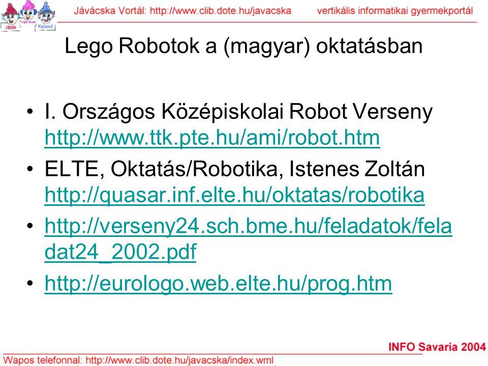 Lego Robotok a (magyar) oktatásban I. Országos Középiskolai Robot Verseny http://www.ttk.pte.hu/ami/robot.htm http://www.ttk.pte.hu/ami/robot.htm ELTE