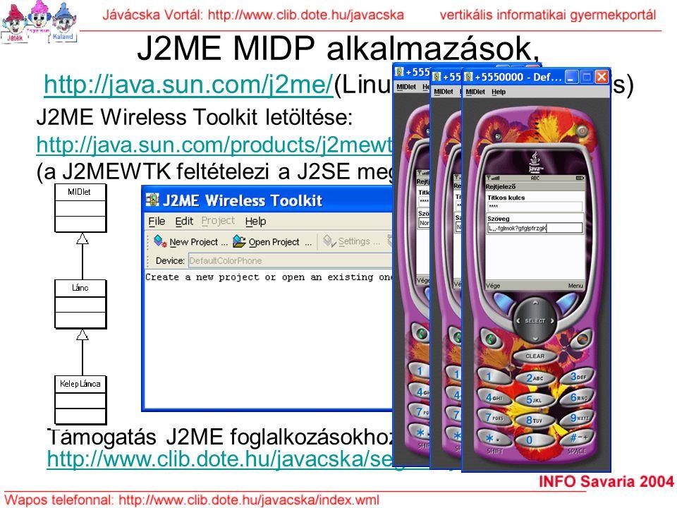J2ME MIDP alkalmazások, http://java.sun.com/j2me/(Linux és Windows alá is) http://java.sun.com/j2me/ J2ME Wireless Toolkit letöltése: http://java.sun.