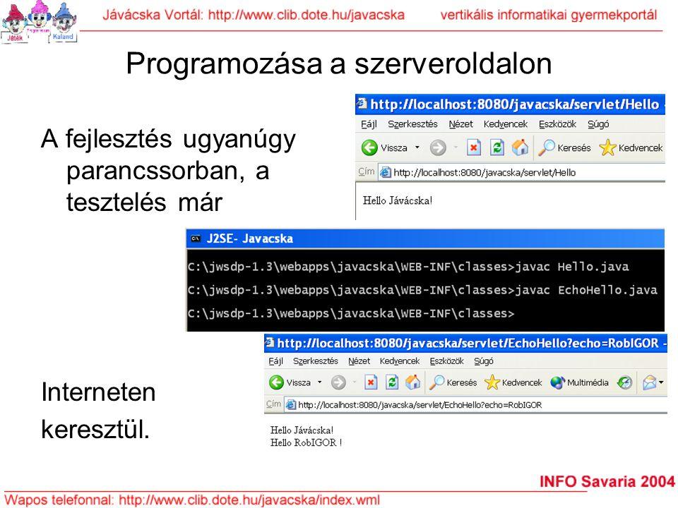 Programozása a szerveroldalon A fejlesztés ugyanúgy parancssorban, a tesztelés már Interneten keresztül.