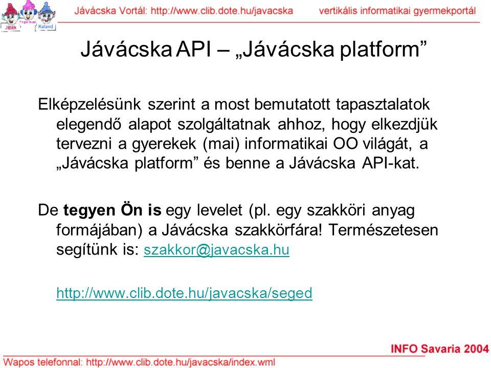 """Jávácska API – """"Jávácska platform"""" Elképzelésünk szerint a most bemutatott tapasztalatok elegendő alapot szolgáltatnak ahhoz, hogy elkezdjük tervezni"""
