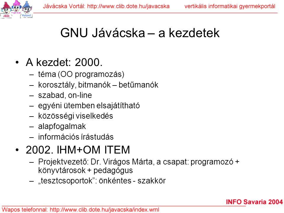 GNU Jávácska – a kezdetek A kezdet: 2000. –téma (OO programozás) –korosztály, bitmanók – betűmanók –szabad, on-line –egyéni ütemben elsajátítható –köz