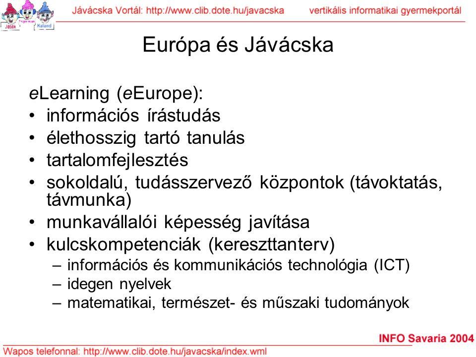 Európa és Jávácska eLearning (eEurope): információs írástudás élethosszig tartó tanulás tartalomfejlesztés sokoldalú, tudásszervező központok (távokta