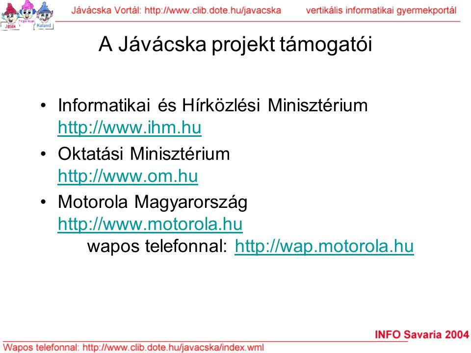 A Jávácska projekt támogatói Informatikai és Hírközlési Minisztérium http://www.ihm.hu http://www.ihm.hu Oktatási Minisztérium http://www.om.hu http:/