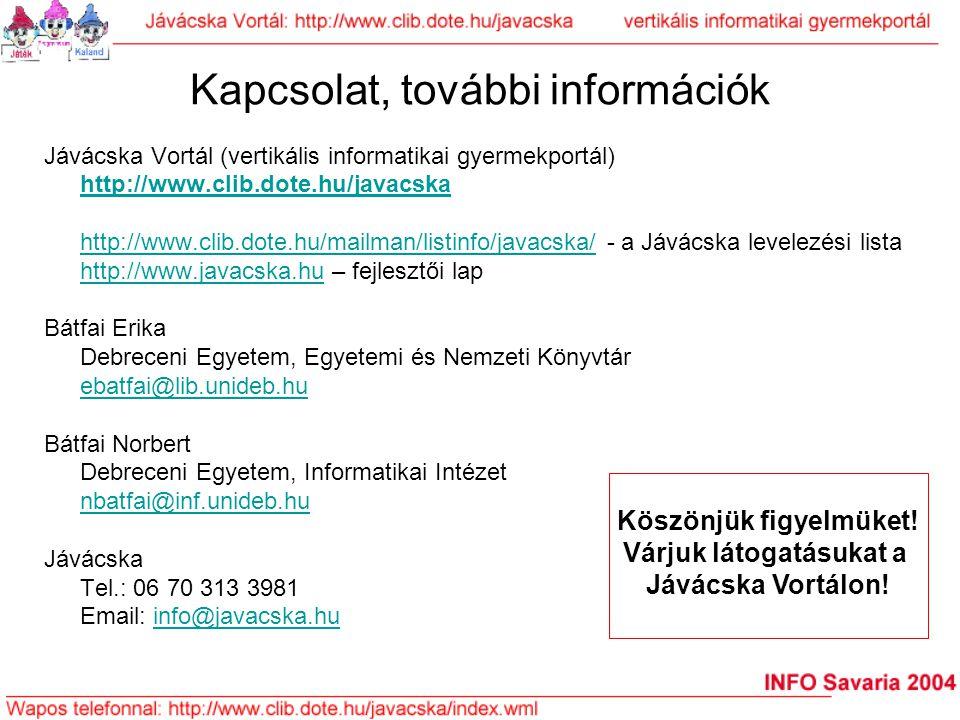 Kapcsolat, további információk Jávácska Vortál (vertikális informatikai gyermekportál) http://www.clib.dote.hu/javacska http://www.clib.dote.hu/mailma