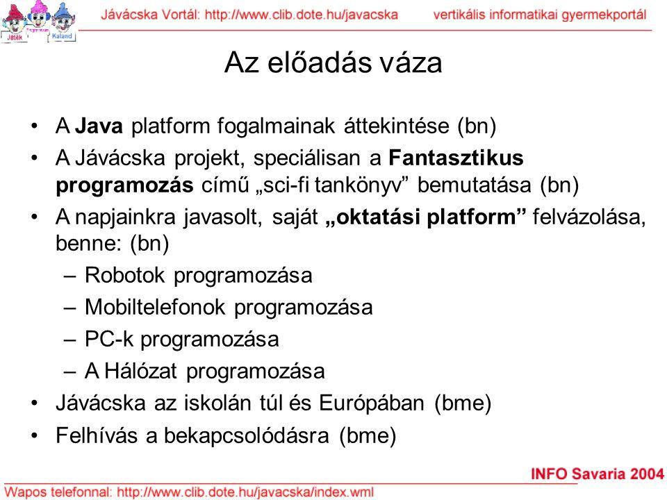 """Az előadás váza A Java platform fogalmainak áttekintése (bn) A Jávácska projekt, speciálisan a Fantasztikus programozás című """"sci-fi tankönyv"""" bemutat"""