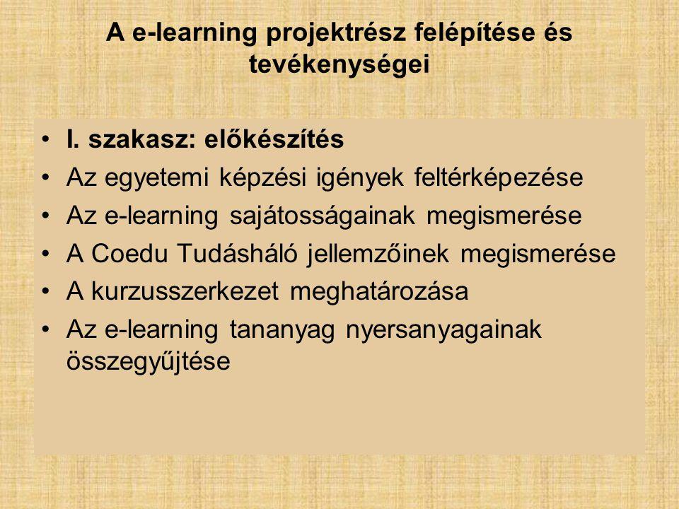 A e-learning projektrész felépítése és tevékenységei I.