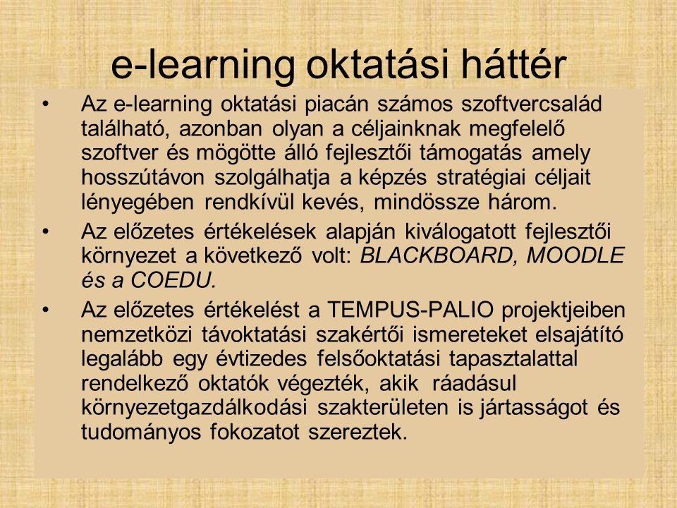 e-learning oktatási háttér Az e-learning oktatási piacán számos szoftvercsalád található, azonban olyan a céljainknak megfelelő szoftver és mögötte álló fejlesztői támogatás amely hosszútávon szolgálhatja a képzés stratégiai céljait lényegében rendkívül kevés, mindössze három.