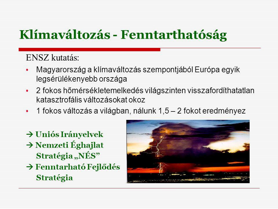"""Klímaváltozás - Fenntarthatóság ENSZ kutatás: Magyarország a klímaváltozás szempontjából Európa egyik legsérülékenyebb országa 2 fokos hőmérsékletemelkedés világszinten visszafordíthatatlan katasztrofális változásokat okoz 1 fokos változás a világban, nálunk 1,5 – 2 fokot eredményez  Uniós Irányelvek  Nemzeti Éghajlat Stratégia """"NÉS  Fenntarható Fejlődés Stratégia"""